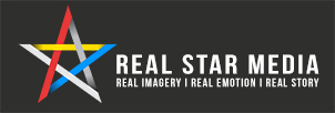 REAL STAR MEDIA : REAL IMAGERY I REAL EMOTION I REAL STORY logo